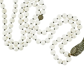 White Coral Rosary with Diamonds