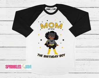 Mom of the Birthday Boy, African American, Batman Birthday Shirt, Parent Birthday Shirt, Matching Birthday Shirts, Superhero Birthday Shirt