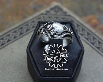Octopus Ring - Handmade Artisan Pewter - Tentacle Ring - Squid Tentacle Ring - Adjustable - Goth Kink - Steampunk Cephalopod Doctor Gus