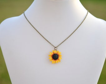 Deep Red- Yellow Sunflowersimple Drop  Necklace. Sunflower Jewelry. Fall Sunflower Necklace