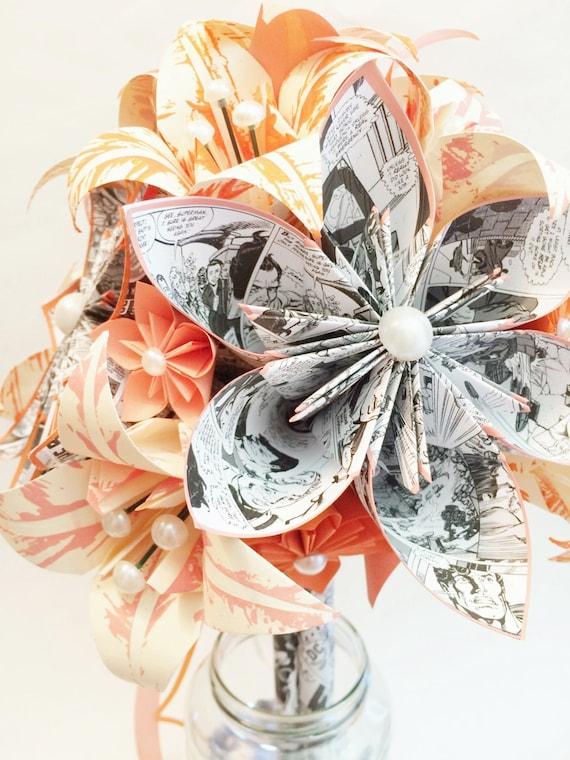 Comic book & lilies paper flower bouquet wedding bouquet one