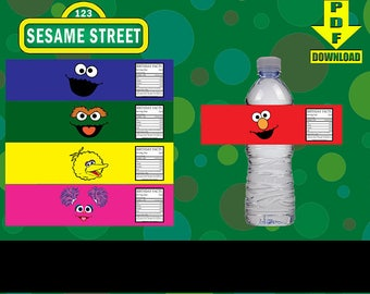 Sesame Street Birthday Digital Water Bottle Labels/Print and Cut/Party/1st Birthday/Decorations/Ideas/Cookie Monster/Elmo/Big Bird/Red/Blue
