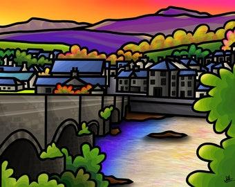 Cader Idris and Dolgellau - colourful fine art print by Amanda Hone