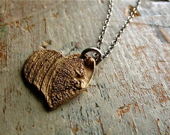 this heart necklace - bronze faux bois charm pendant, sterling silver chain - wood grain, hand crafted