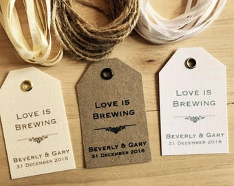 Personalised Wedding LOVE IS BREWING Favour Tags -Vintage Kraft/White/Ivory 4