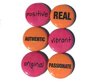 Word Magnets or Pins - Positive Affirmation Fridge Magnets or Pinback Button Set - Stocking Stuffer, Party Favor, Gift Under 10 Dollars