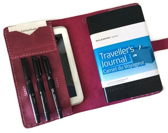 Leather A5 Folder, Bullet Journal Cover, Leuchtturm1917 Cover, Moleskine Cover, Fuchsia  Leather Portfolio, Bridesmaid Gift