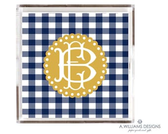 Lucite Tray/Acrylic Tray Monogrammed office desk organizer/Navy Gingham personalized square catch all tray 12x12 and 6x6