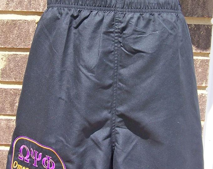 Custom Embroidered (Greek or English Letters) Swim Trunks - Black, Red Omega, Alpha, Kappa   Sigma, Beta