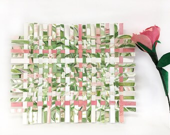 Greenery Paper Weaving- 7x8.5- Mixed Media- Watercolor- Abstract Art- Woven Paper- Green, Pink, White