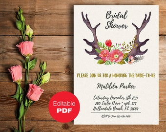 Bridal Shower invitation Bridal Shower invites Rustic bridal shower invitation Printable invitation Editable invitation Floral bridal shower