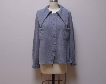 VINTAGE VALENTINO Boutique Italy Gray Button Front Aline Tunic Sweater Size M