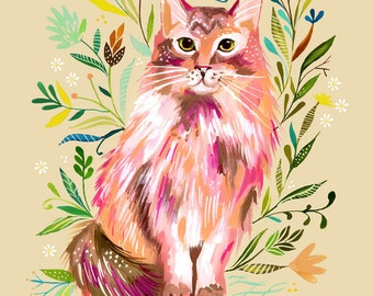 Prairie Cat Art Print | Watercolor Painting | Nursery Decor | Cat Wall Art | Katie Daisy | 8x10 | 11x14