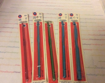 BOYE, Crochet Hooks, Sizes F thru K, Made in USA, New Old Stock, Original Package, Single Hook, Red Card