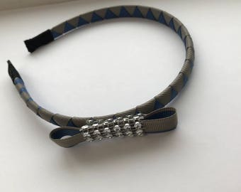 Designer  Cerulean Blue and Silver Gray Grosgrain-Covered Headband