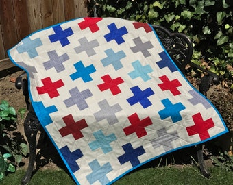 Modern Baby Quilt, Plus Quilt, Patriotic Quilt, Crib Quilt, Toddler Quilt. Handmade, Baby Shower Gift, Red White and Blue