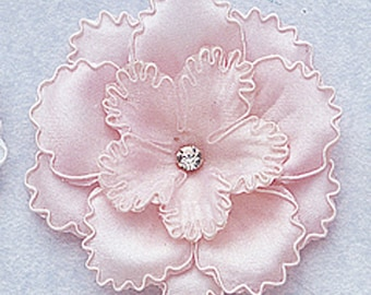 """3"""" Pink Large Satin Rose Flowers with Diamond 1 flower"""
