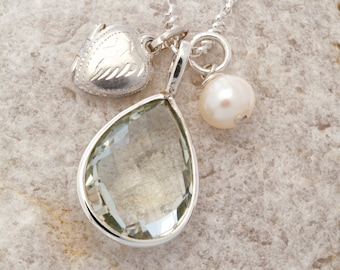 Gemstone Charm and Vintage Silver Locket with Freshwater Pearl Charm Necklace