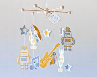 Music lover baby gift, Music baby Mobile, Rock star mobile, music nursery, robot mobile, custom mobile, modern baby gift, crib mobile music
