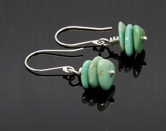 Turquoise, Gemstone Earrings, Southwestern Earring, Stone Earrings, Dangle Earrings, Metaphysical Simple Earrings, Woman's, E316