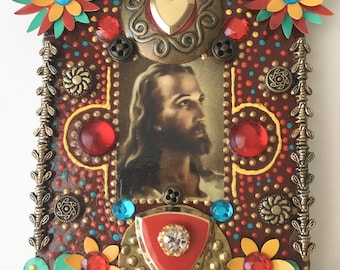 Our Fathers Son/Unique Wall Hangings, Montana artist, Handmade, Contemporary, Spiritual decor, Faith gift, Religious crafts, Upcycled items