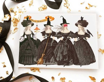 Halloween witch card, Marie Antoinette, Happy Halloween vintage style holiday card