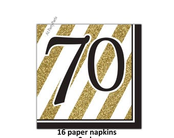 70th birthday napkins, black and gold 70, seventieth anniversary party, seventy years, white, gold glitter, stipes, elegant, adult celebrate