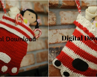 2 Pet Paw Christmas Stocking Pattern, Paw Print Sock, Crochet Dog or Cat PDF Pattern, Holiday, 2 PKBundle, Photo Prop, Digital Download,