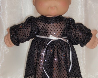 "Long Sleeve Black Sequin Fancy Cabbage Patch Dress, 16""-18"" Doll Clothes, Cabbage Patch Doll Clothes, Baby Alive Dress"