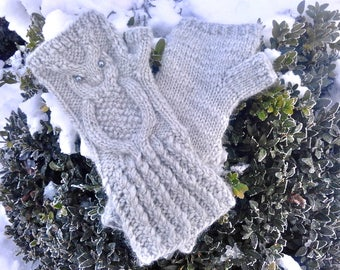 Knit Owl Gloves - Knit Fingerless Mittens - Gray Knitted Wrist Warmers - Hand Knit Gloves - Owl Mittens - Wool Mittens
