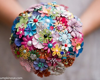 Enamel brooch bridal bouquet,