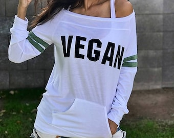 VEGAN. Wide Shouldered Sporty Long Sleeved Tee. Off the Shoulder Top. Vegan Shirt. Gift for Vegan. Christmas Gift. Firedaughter Clothing.