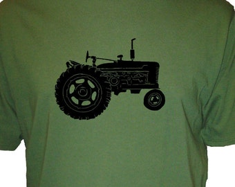 Mens Farm Shirt - Tractor T Shirt - Farming / Farmer Mens Organic Cotton and Organic Bamboo TShirt - Great Gift Idea for Farmers