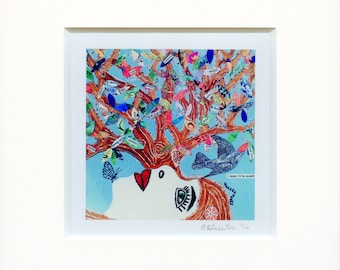 Claritree: Matted Canvas Print of Original Mixed-Media Collage