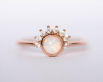 Opal Ring - crown ring - promise ring - rose gold ring - opal ring rose gold - eclectic ring - simple ring - dainty ring - gift for her