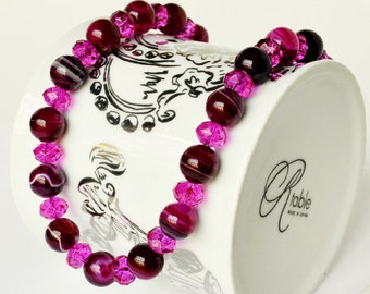 Pink Necklace Agate Handmade Beaded Jewelry with Swarovski Beaded Necklace