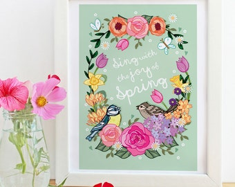 Sing With The Joy of Spring - A4 Unframed Illustration Print