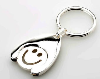 2 pieces-key ring-pendant happy, smiley face with silver chip