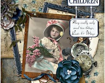 Vintage Children Greeting Card