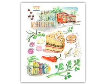 New Orleans Muffuletta illustrated recipe art print, Kitchen wall decor, Louisiana food illustration poster, Cajun gift, Watercolor painting