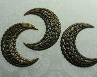 "Vintage gold plate brass slightly convex stamped moon filigrees,1&3/4"",3pcs-FLG19G"