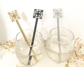 Retro Tile Swizzle Sticks Geo Shapes,Modern Bar Cart,Drink Stirrer,Perfect Weddings,Cocktail Sticks,Midcentury Modern,Stir Sticks,6 Pk
