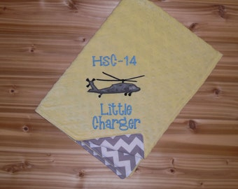 Military Blanket - HSC-14 Squadron - Custom Monogram Minky Baby Blanket- Gray Chevron with Yellow Minky - Gender Neutral