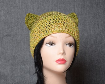 green yellow hat crocheted cat beanie Women's cat ear hat gift for her Knitting Accessories Autumn teen hat