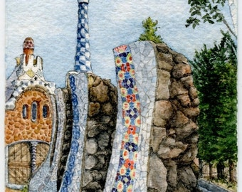 "ORIGINAL Miniature Ink and Watercolour Painting (2018) - ""Park Güell Spires, Barcelona"" (Spain)"