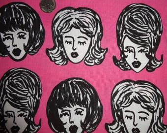 Bouffants Broken Hearts Robert Kaufman Pink Cotton Quilt Fabric BTY By The Yard