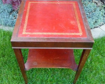 Vintage Leather Top Two Teir Table
