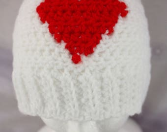 Red And White Heart Beanie. Handmade crochet beanie made with soft wool. Very warm.