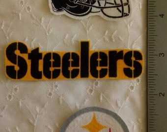 Pittsburgh Steelers Football 3pc set Iron On Fabric Applique No Sew