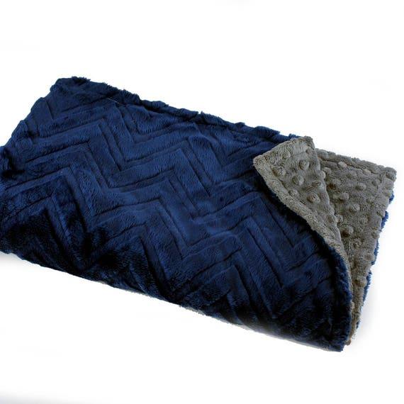 Baby Boy Crib Blanket, Minky Baby Blanket, Personalized Baby Blanket, Gray Navy Chevron Blanket, Kids Minky Blanket, Baby Gift, Name Blanket